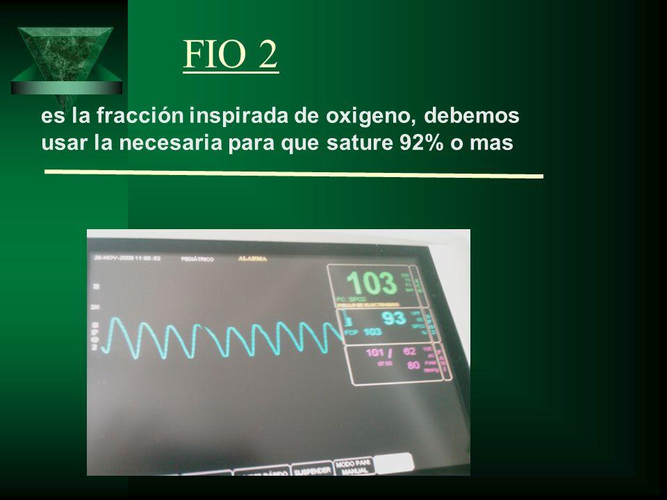 es la fracción inspirada de oxigeno, debemos usar la necesaria para que sature 92% o mas FIO 2