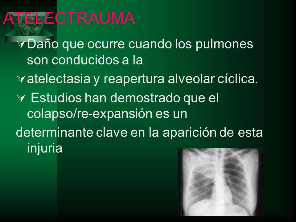 ATELECTRAUMA Daño que ocurre cuando los pulmones son conducidos a la atelectasia y reapertura alveolar cíclica. Estudios han demostrado que el colapso
