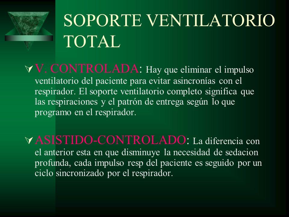 SOPORTE VENTILATORIO TOTAL V. CONTROLADA: Hay que eliminar el impulso ventilatorio del paciente para evitar asincronías con el respirador. El soporte