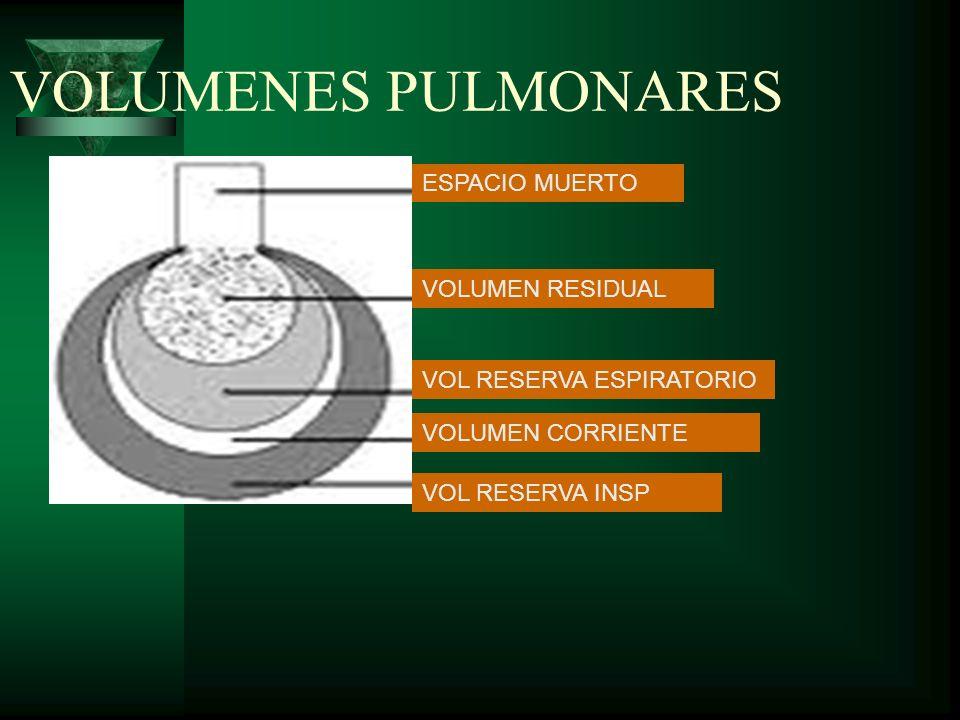 VOLUMENES PULMONARES ESPACIO MUERTO VOLUMEN RESIDUAL VOL RESERVA ESPIRATORIO VOLUMEN CORRIENTE VOL RESERVA INSP