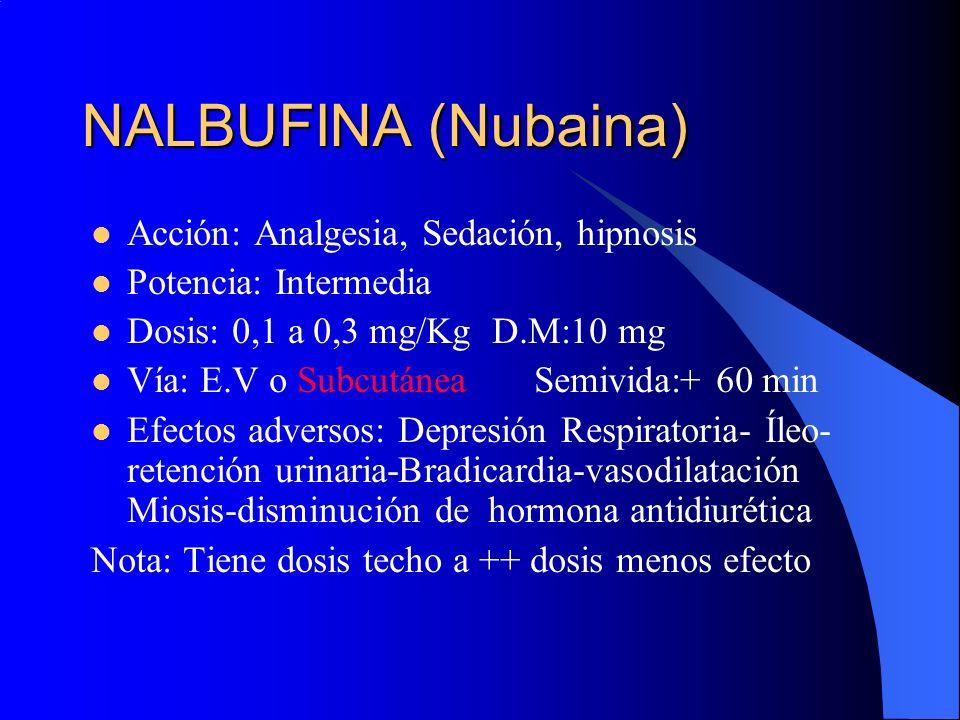 NALBUFINA (Nubaina) Acción: Analgesia, Sedación, hipnosis Potencia: Intermedia Dosis: 0,1 a 0,3 mg/Kg D.M:10 mg Vía: E.V o Subcutánea Semivida:+ 60 mi