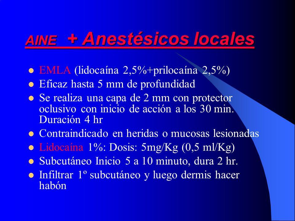 AINE + Anestésicos locales EMLA (lidocaína 2,5%+prilocaína 2,5%) Eficaz hasta 5 mm de profundidad Se realiza una capa de 2 mm con protector oclusivo c