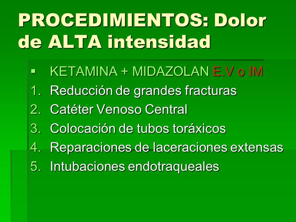 PROCEDIMIENTOS: Dolor de ALTA intensidad KETAMINA + MIDAZOLAN E.V o IM KETAMINA + MIDAZOLAN E.V o IM 1.Reducción de grandes fracturas 2.Catéter Venoso