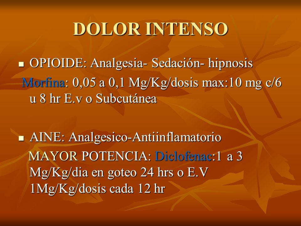 DOLOR INTENSO OPIOIDE: Analgesia- Sedación- hipnosis OPIOIDE: Analgesia- Sedación- hipnosis Morfina: 0,05 a 0,1 Mg/Kg/dosis max:10 mg c/6 u 8 hr E.v o