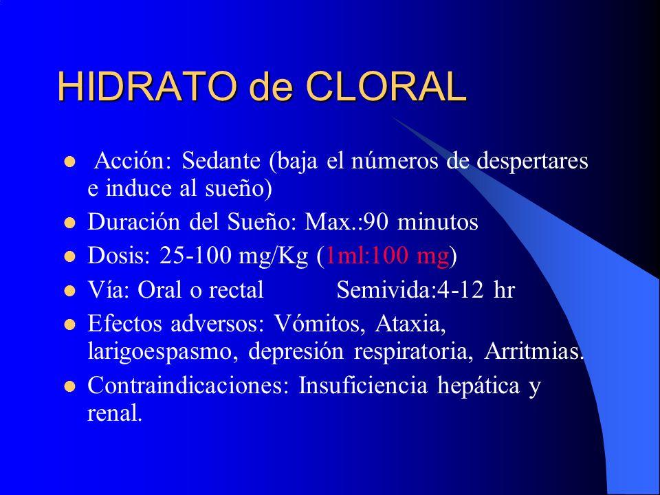 HIDRATO de CLORAL Acción: Sedante (baja el números de despertares e induce al sueño) Duración del Sueño: Max.:90 minutos Dosis: 25-100 mg/Kg (1ml:100