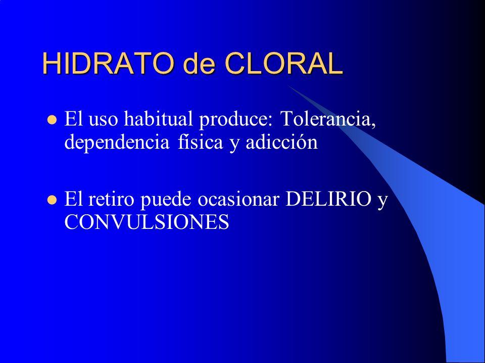 HIDRATO de CLORAL El uso habitual produce: Tolerancia, dependencia física y adicción El retiro puede ocasionar DELIRIO y CONVULSIONES