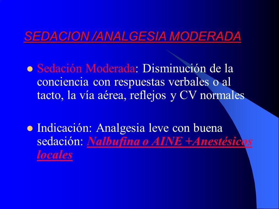 Sedación Moderada: Disminución de la conciencia con respuestas verbales o al tacto, la vía aérea, reflejos y CV normales Indicación: Analgesia leve co