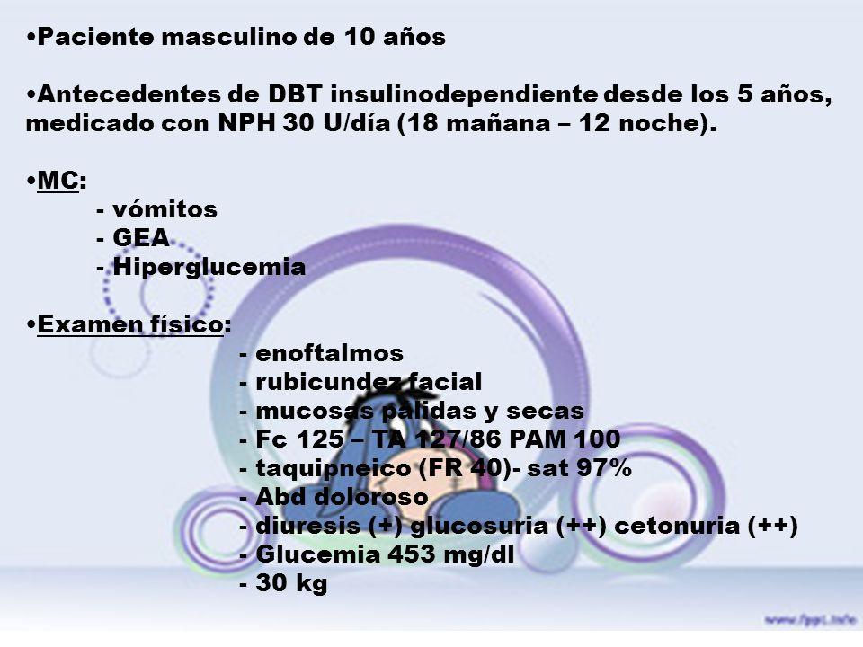 Paciente masculino de 10 años Antecedentes de DBT insulinodependiente desde los 5 años, medicado con NPH 30 U/día (18 mañana – 12 noche). MC: - vómito
