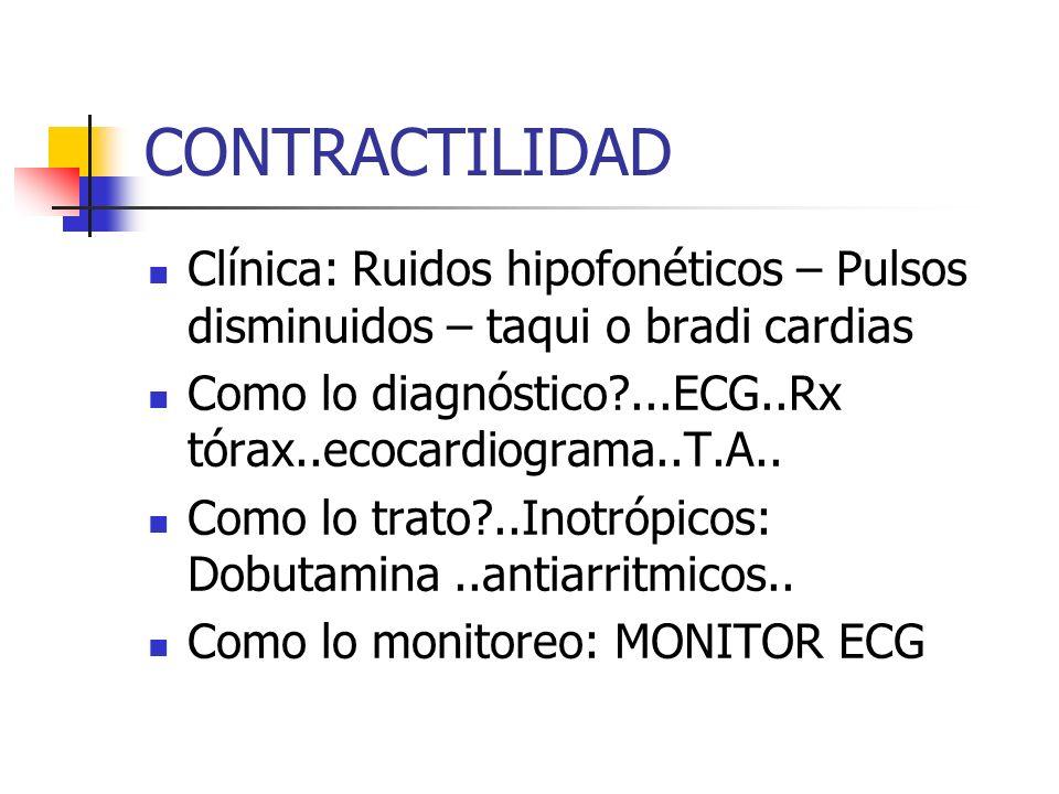CONTRACTILIDAD Clínica: Ruidos hipofonéticos – Pulsos disminuidos – taqui o bradi cardias Como lo diagnóstico?...ECG..Rx tórax..ecocardiograma..T.A..