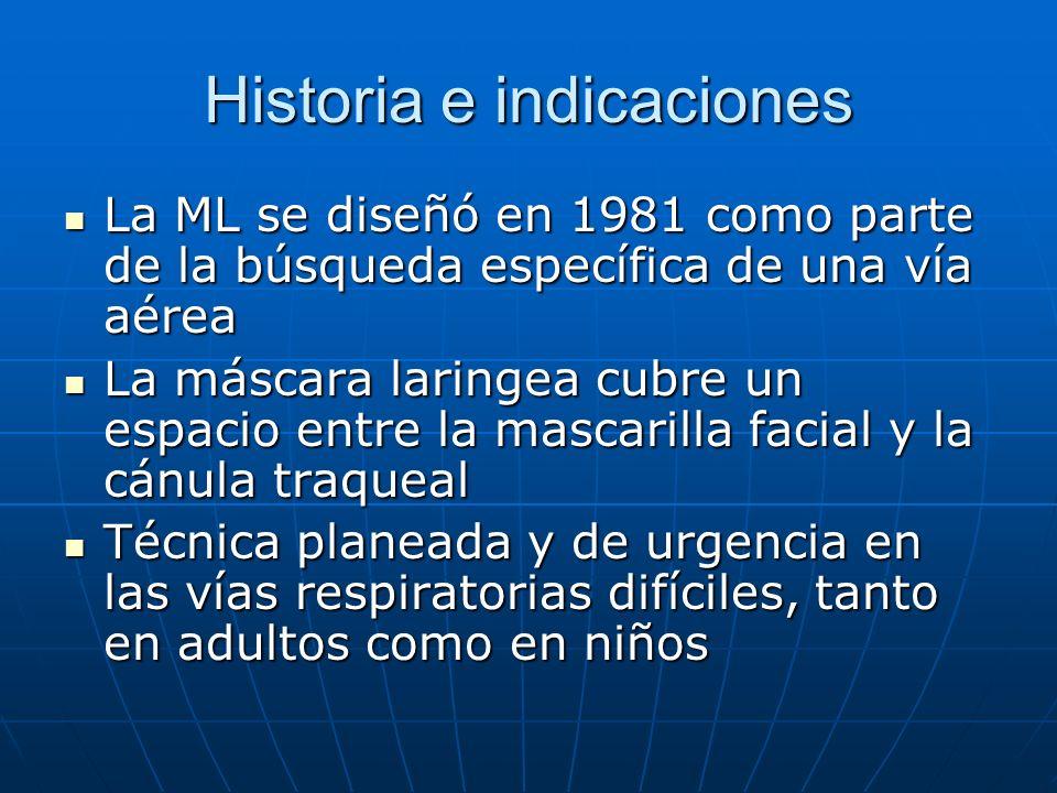 Historia e indicaciones La ML se diseñó en 1981 como parte de la búsqueda específica de una vía aérea La ML se diseñó en 1981 como parte de la búsqued