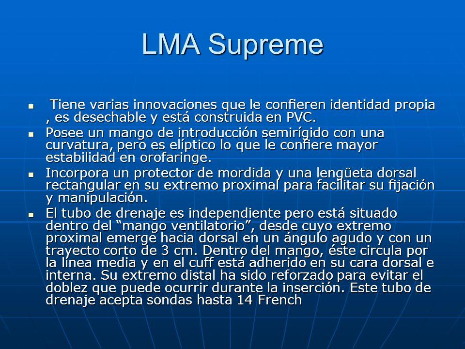 LMA Supreme Tiene varias innovaciones que le coneren identidad propia, es desechable y está construida en PVC. Tiene varias innovaciones que le conere