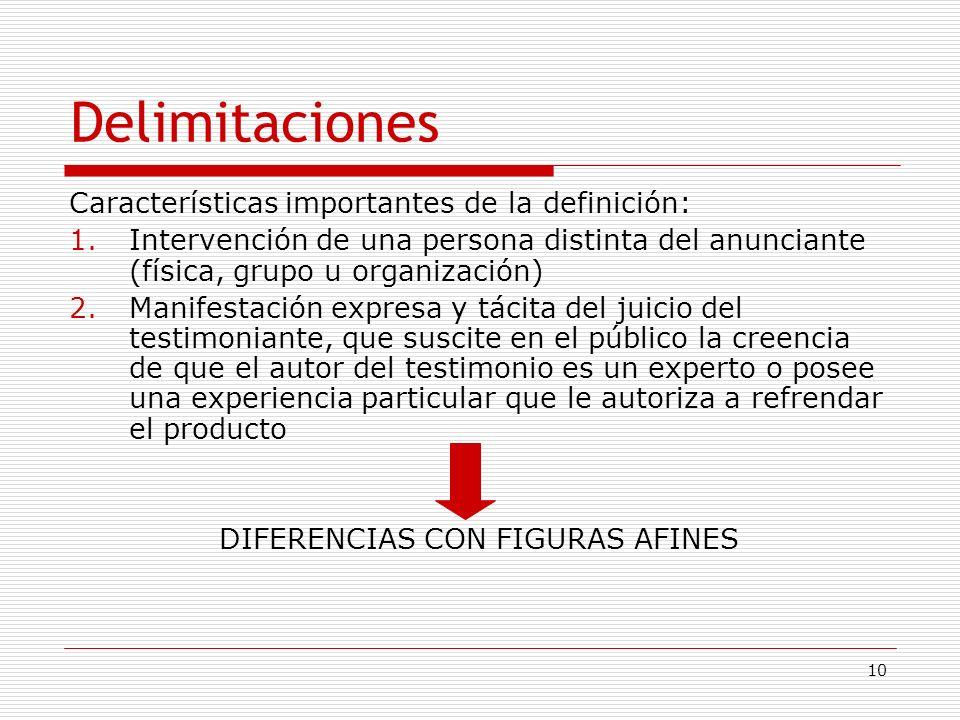 10 Delimitaciones Características importantes de la definición: 1.Intervención de una persona distinta del anunciante (física, grupo u organización) 2