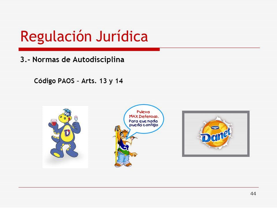 44 Regulación Jurídica 3.- Normas de Autodisciplina Código PAOS – Arts. 13 y 14