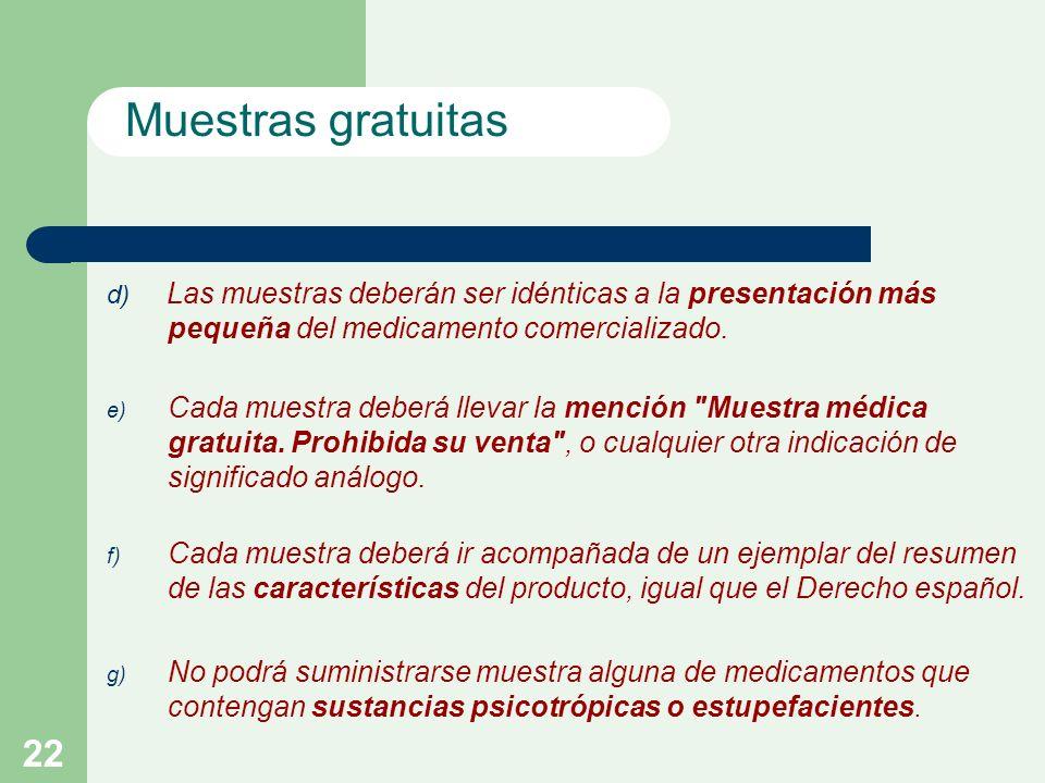 22 d) Las muestras deberán ser idénticas a la presentación más pequeña del medicamento comercializado.