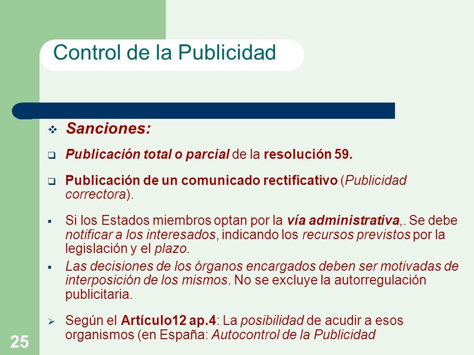 25 Sanciones: Publicación total o parcial de la resolución 59.