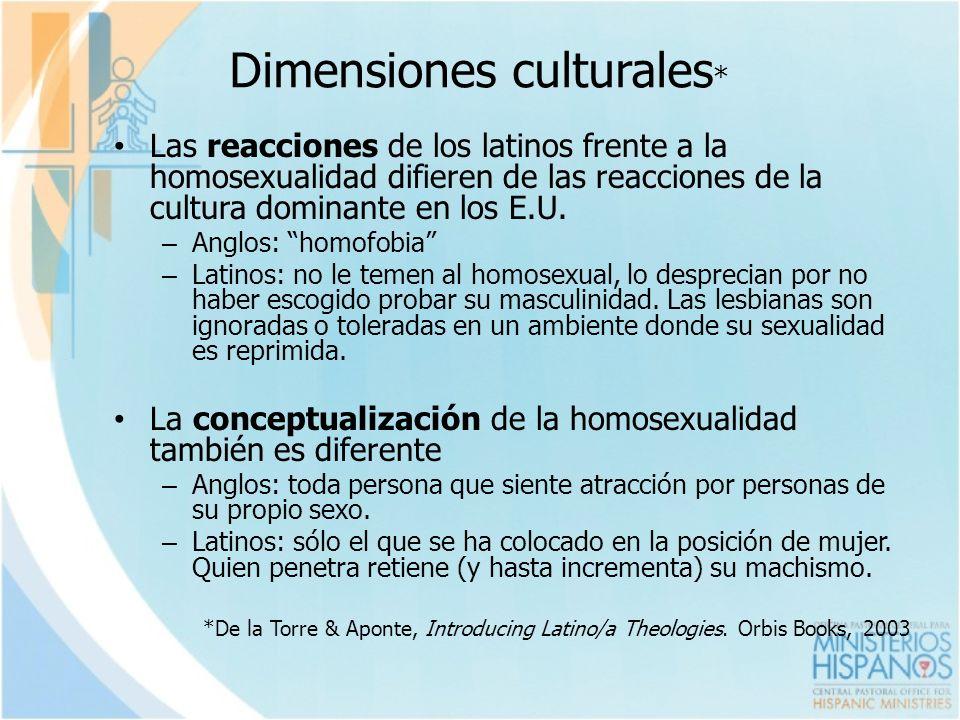 Dimensiones culturales * Las reacciones de los latinos frente a la homosexualidad difieren de las reacciones de la cultura dominante en los E.U. – Ang