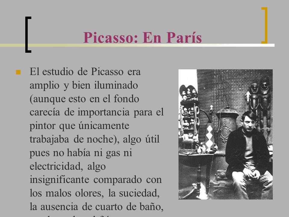El estudio de Picasso era amplio y bien iluminado (aunque esto en el fondo carecía de importancia para el pintor que únicamente trabajaba de noche), a