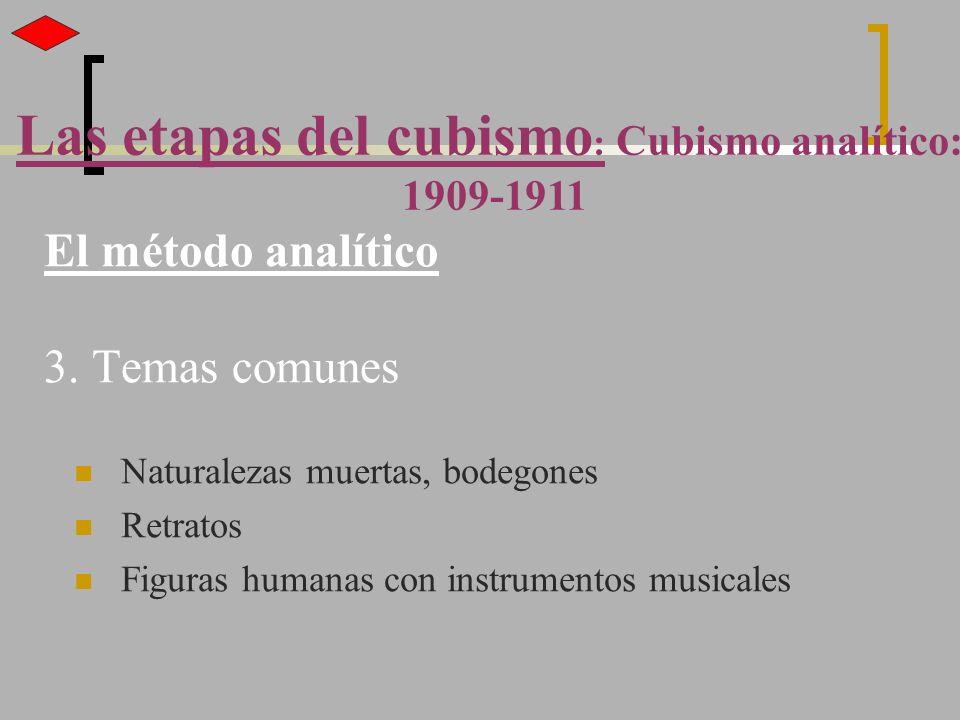 El método analítico 3. Temas comunes Naturalezas muertas, bodegones Retratos Figuras humanas con instrumentos musicales Las etapas del cubismo : Cubis