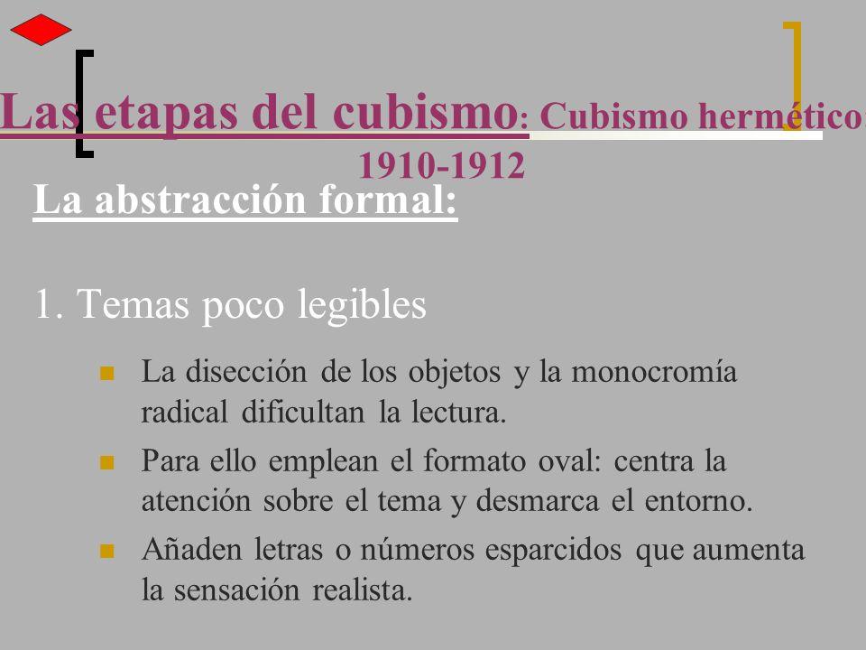 La abstracción formal: 1. Temas poco legibles La disección de los objetos y la monocromía radical dificultan la lectura. Para ello emplean el formato