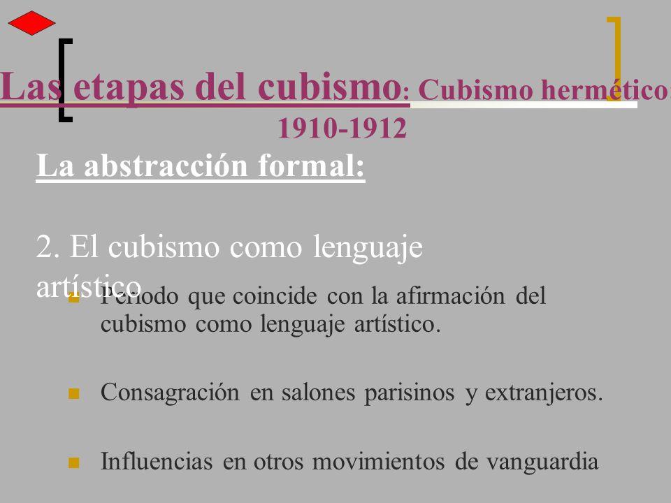 Periodo que coincide con la afirmación del cubismo como lenguaje artístico. Consagración en salones parisinos y extranjeros. Influencias en otros movi