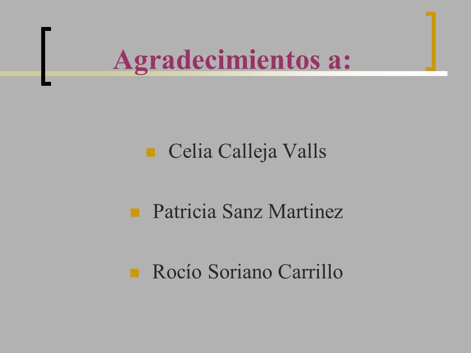 Agradecimientos a: Celia Calleja Valls Patricia Sanz Martinez Rocío Soriano Carrillo