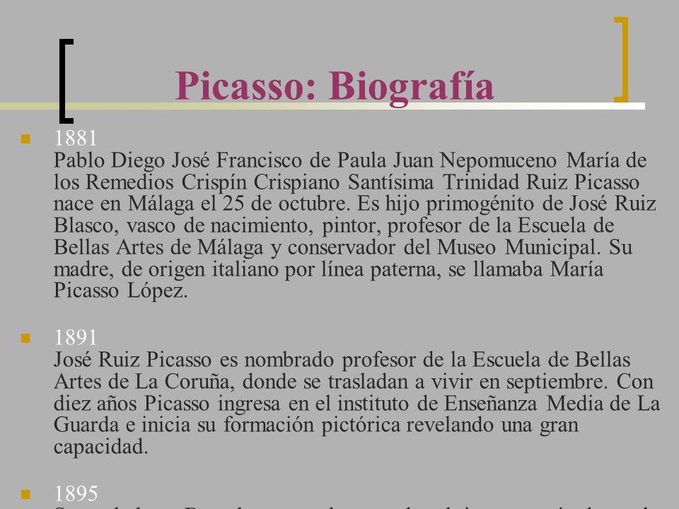 Picasso: Biografía 1881 Pablo Diego José Francisco de Paula Juan Nepomuceno María de los Remedios Crispín Crispiano Santísima Trinidad Ruiz Picasso na