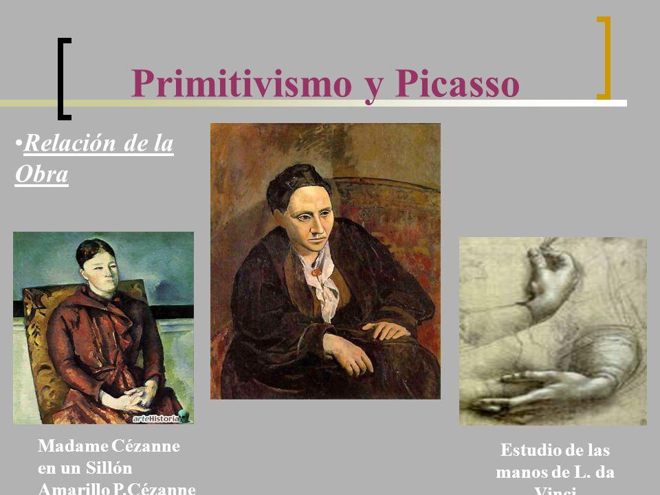 Primitivismo y Picasso Madame Cézanne en un Sillón Amarillo P.Cézanne Estudio de las manos de L. da Vinci Relación de la Obra