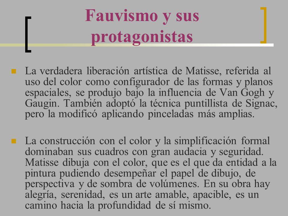La verdadera liberación artística de Matisse, referida al uso del color como configurador de las formas y planos espaciales, se produjo bajo la influe