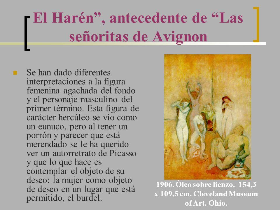 El Harén, antecedente de Las señoritas de Avignon Se han dado diferentes interpretaciones a la figura femenina agachada del fondo y el personaje mascu