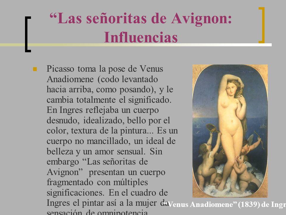 Picasso toma la pose de Venus Anadiomene (codo levantado hacia arriba, como posando), y le cambia totalmente el significado. En Ingres reflejaba un cu