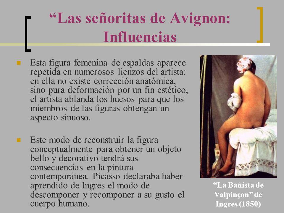 Las señoritas de Avignon: Influencias Esta figura femenina de espaldas aparece repetida en numerosos lienzos del artista: en ella no existe corrección