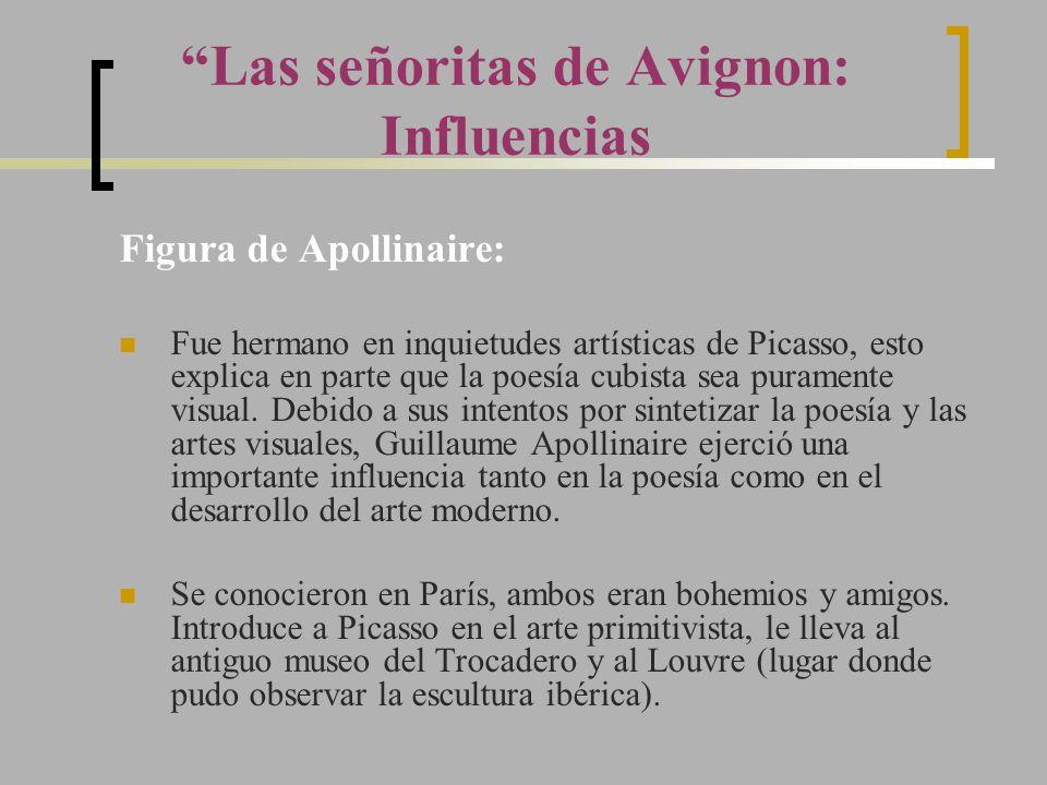 Figura de Apollinaire: Fue hermano en inquietudes artísticas de Picasso, esto explica en parte que la poesía cubista sea puramente visual. Debido a su