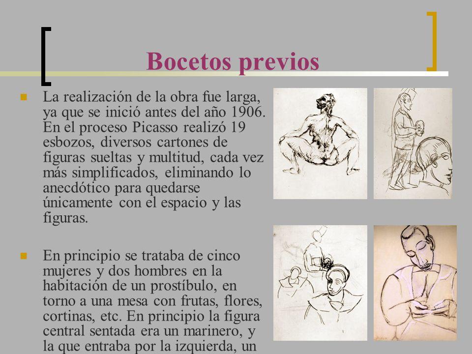 Bocetos previos La realización de la obra fue larga, ya que se inició antes del año 1906. En el proceso Picasso realizó 19 esbozos, diversos cartones