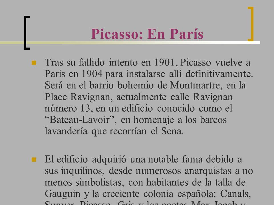 Tras su fallido intento en 1901, Picasso vuelve a Paris en 1904 para instalarse allí definitivamente. Será en el barrio bohemio de Montmartre, en la P