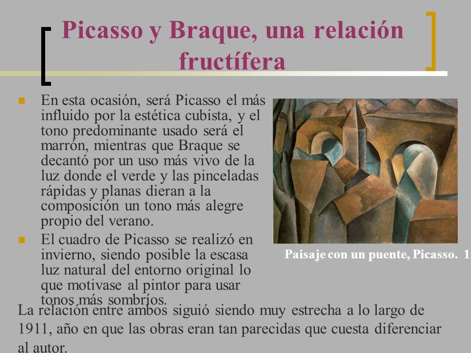 Picasso y Braque, una relación fructífera En esta ocasión, será Picasso el más influido por la estética cubista, y el tono predominante usado será el