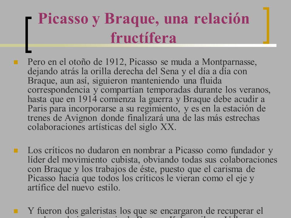 Pero en el otoño de 1912, Picasso se muda a Montparnasse, dejando atrás la orilla derecha del Sena y el día a día con Braque, aun así, siguieron mante