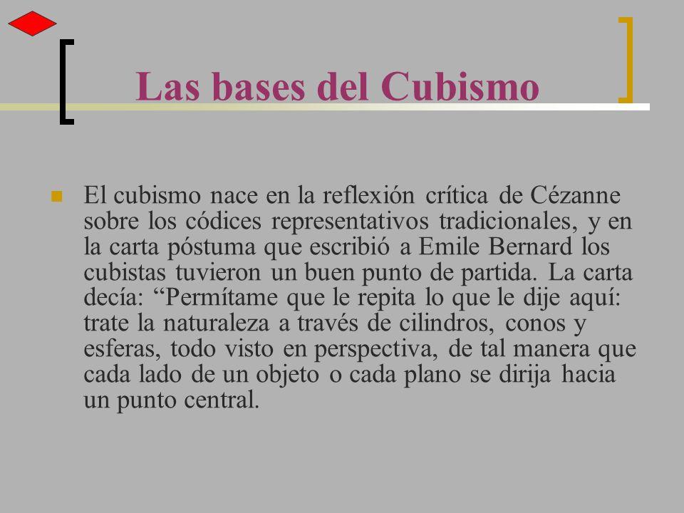 El cubismo nace en la reflexión crítica de Cézanne sobre los códices representativos tradicionales, y en la carta póstuma que escribió a Emile Bernard
