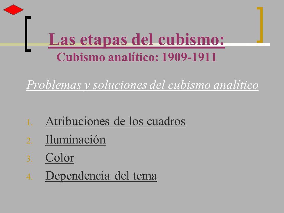 Las etapas del cubismo: Cubismo analítico: 1909-1911 Problemas y soluciones del cubismo analítico 1. Atribuciones de los cuadros 2. Iluminación 3. Col