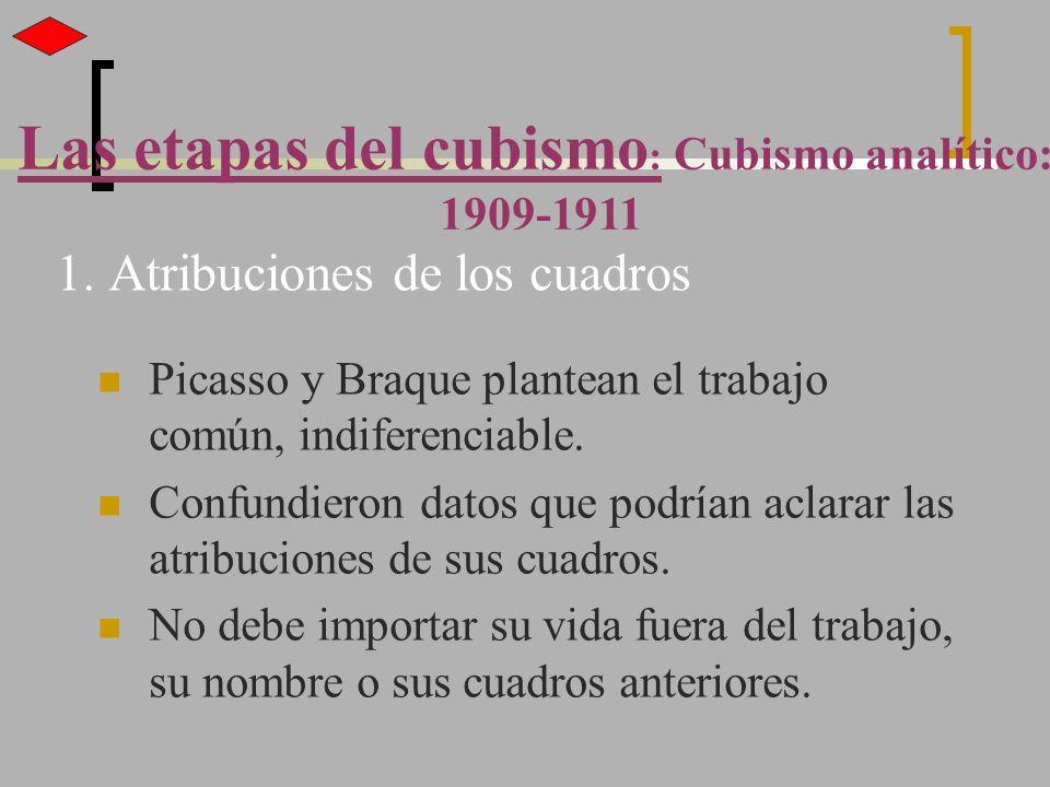 1. Atribuciones de los cuadros Picasso y Braque plantean el trabajo común, indiferenciable. Confundieron datos que podrían aclarar las atribuciones de