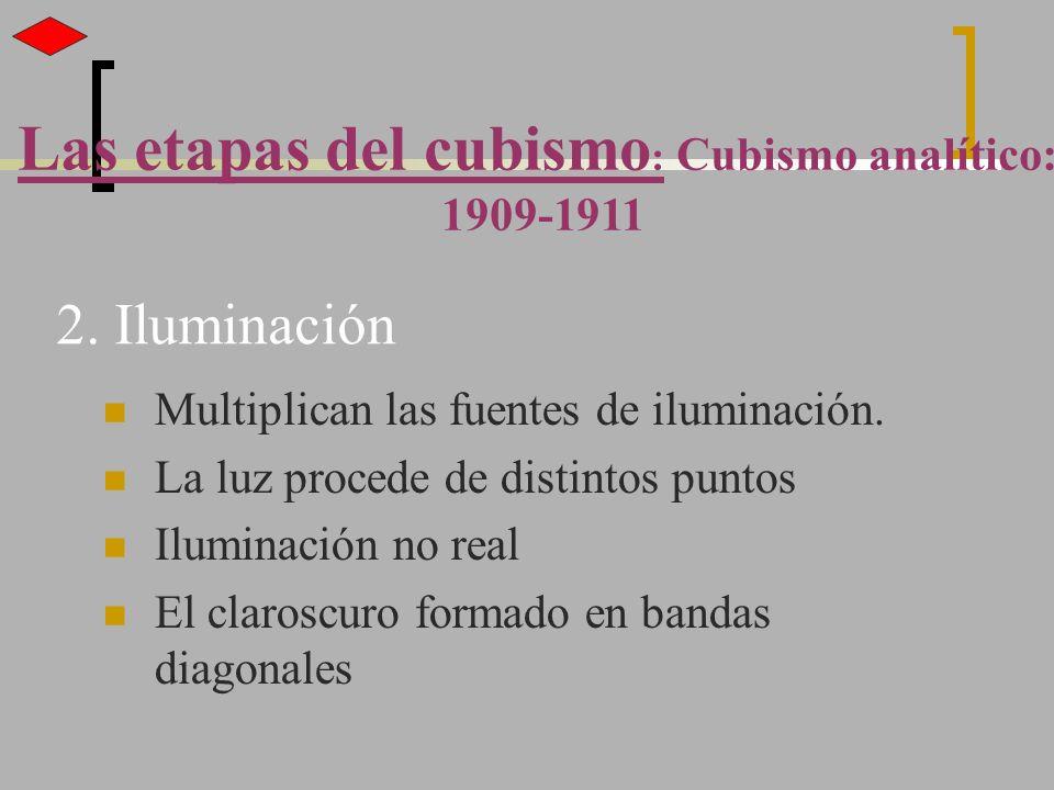 2. Iluminación Multiplican las fuentes de iluminación. La luz procede de distintos puntos Iluminación no real El claroscuro formado en bandas diagonal