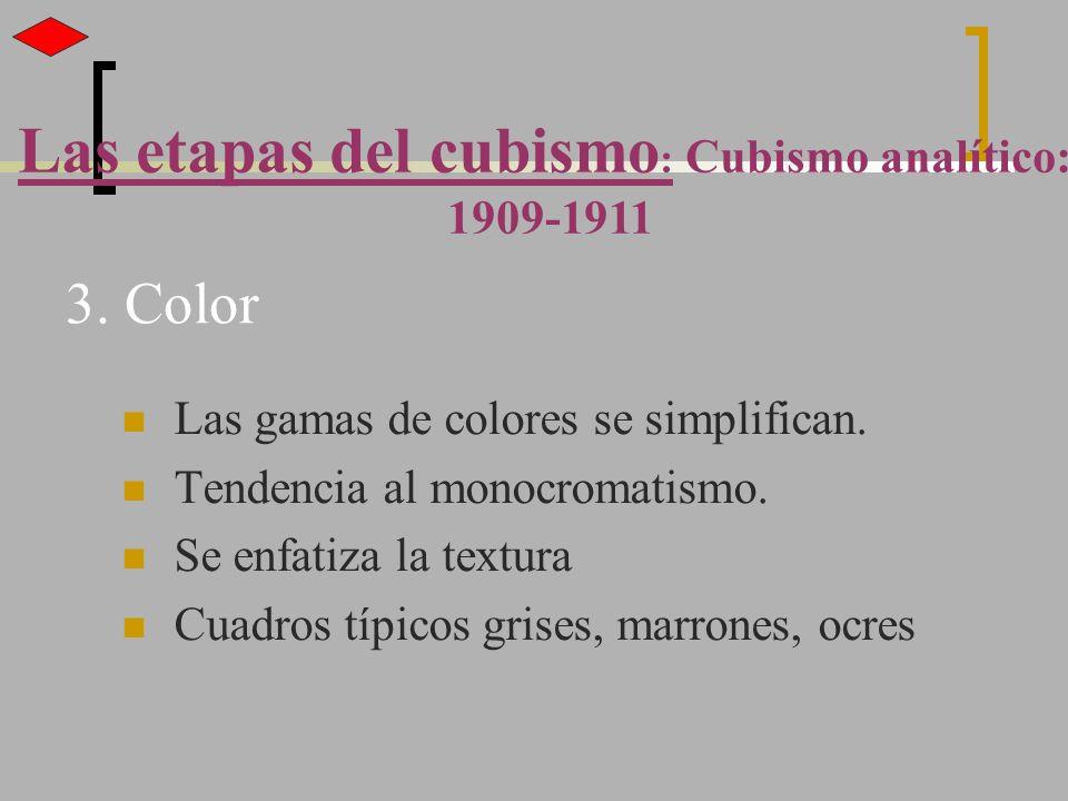3. Color Las gamas de colores se simplifican. Tendencia al monocromatismo. Se enfatiza la textura Cuadros típicos grises, marrones, ocres Las etapas d