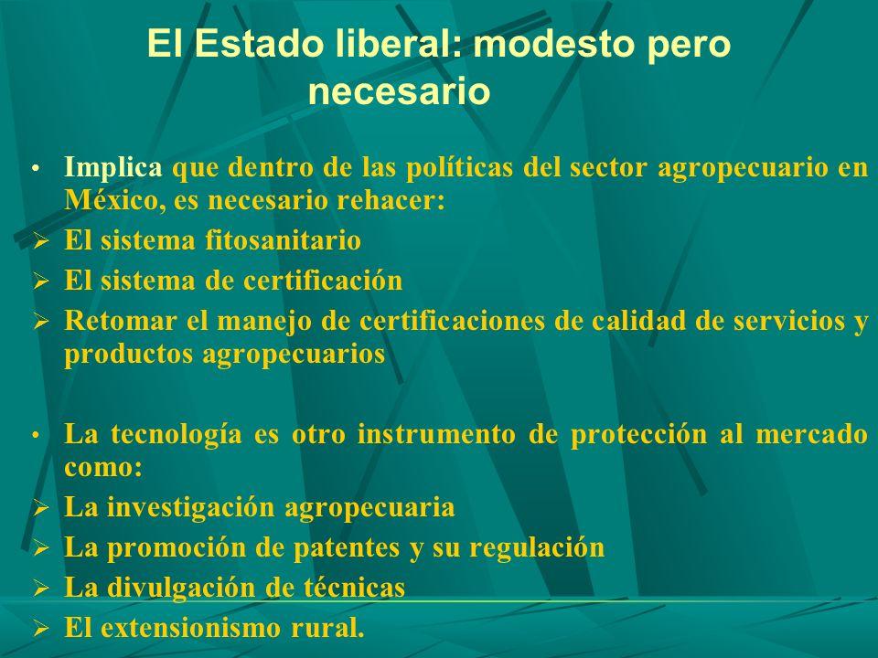 El Estado liberal: modesto pero necesario Implica que dentro de las políticas del sector agropecuario en México, es necesario rehacer: El sistema fito