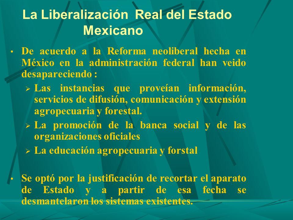 La Liberalización Real del Estado Mexicano De acuerdo a la Reforma neoliberal hecha en México en la administración federal han veido desapareciendo :