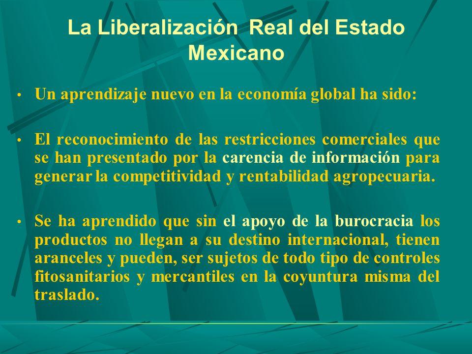 La Liberalización Real del Estado Mexicano Un aprendizaje nuevo en la economía global ha sido: El reconocimiento de las restricciones comerciales que