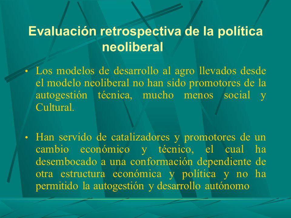 Evaluación retrospectiva de la política neoliberal Los modelos de desarrollo al agro llevados desde el modelo neoliberal no han sido promotores de la