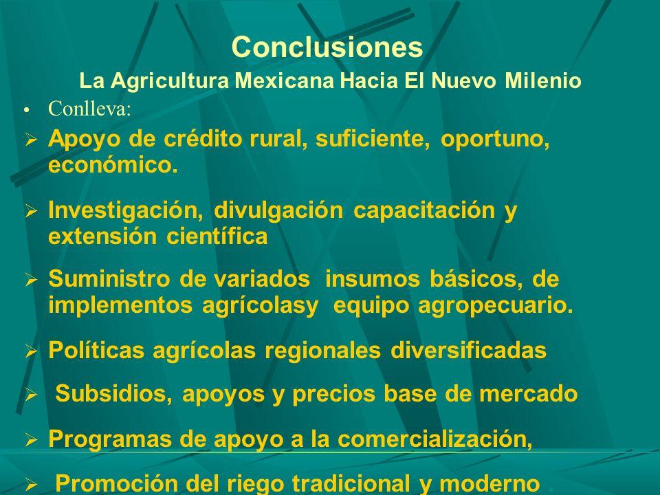 Conclusiones La Agricultura Mexicana Hacia El Nuevo Milenio Conlleva: Apoyo de crédito rural, suficiente, oportuno, económico. Investigación, divulgac