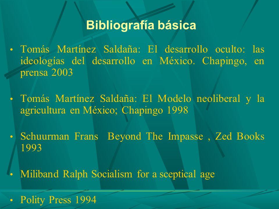 Bibliografía básica Tomás Martínez Saldaña: El desarrollo oculto: las ideologías del desarrollo en México. Chapingo, en prensa 2003 Tomás Martínez Sal