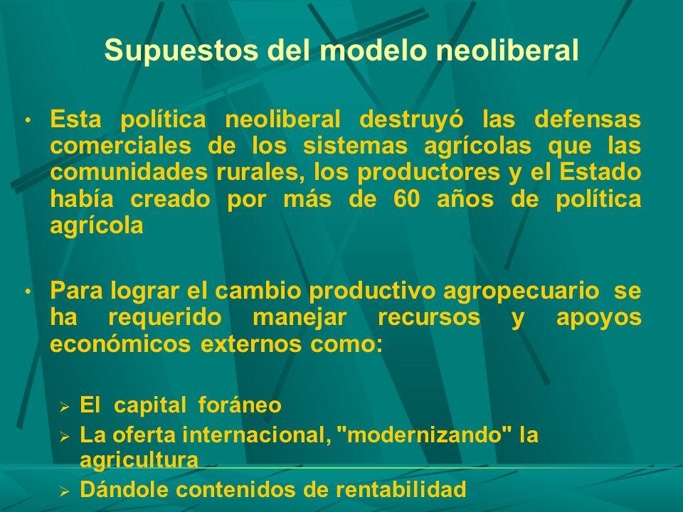 Supuestos del modelo neoliberal Esta política neoliberal destruyó las defensas comerciales de los sistemas agrícolas que las comunidades rurales, los