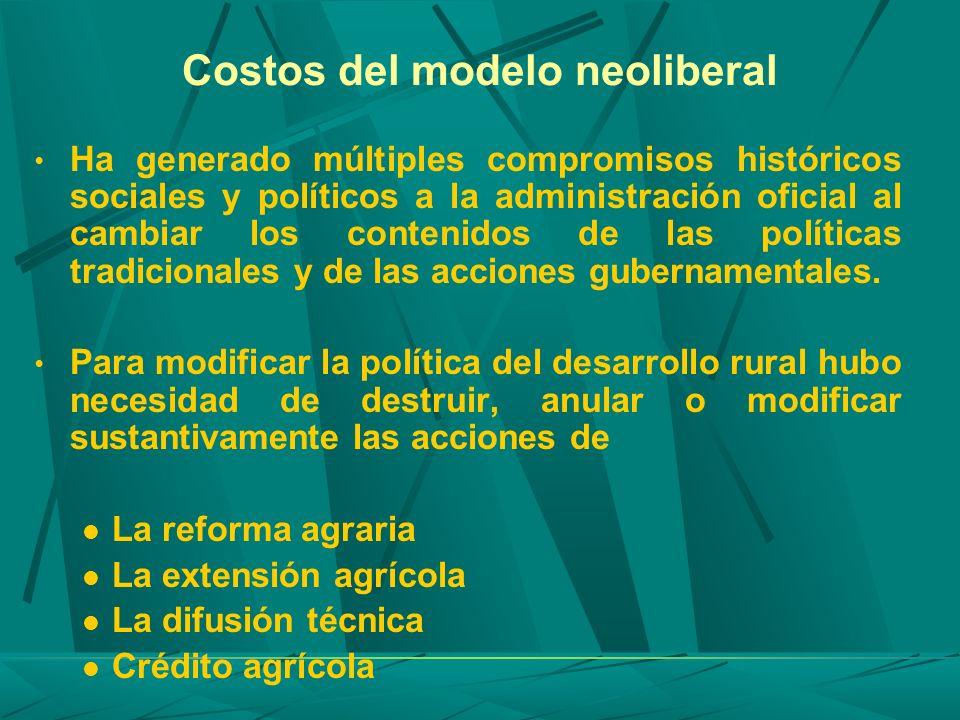 Costos del modelo neoliberal Ha generado múltiples compromisos históricos sociales y políticos a la administración oficial al cambiar los contenidos d