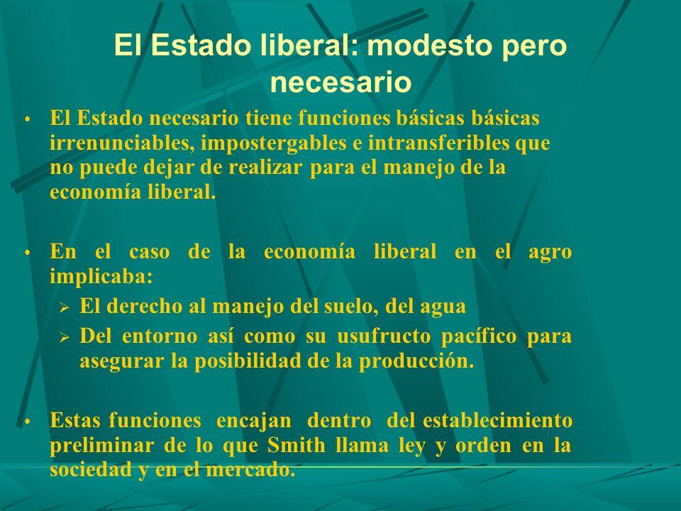El Estado liberal: modesto pero necesario El Estado necesario tiene funciones básicas básicas irrenunciables, impostergables e intransferibles que no